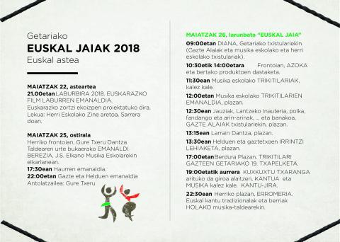 """, GETARIAKO EUSKAL JAIAK 2018 – """"Eguna jantzi dugu, eta zu biluzik?"""", Getariako Udala"""