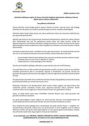 CARTA ABIERTA DE LOS TRABAJADORES DEL CENTRO DE SALUD A LOS GETARIARRAS