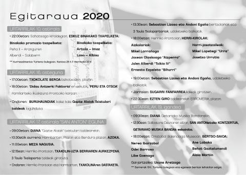 , SAN ANTON JAIAK 2020, Getariako Udala