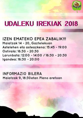 UDALEKU IREKIAK 2018 – TXIKI TXOKO 2018 —- Izena emateko epea zabalik, maiatzaren 14tik 20ra!!!